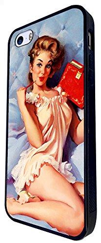 781 - Vintage Pinup Girl Red Diary Design iphone SE - 2016 Coque Fashion Trend Case Coque Protection Cover plastique et métal - Noir