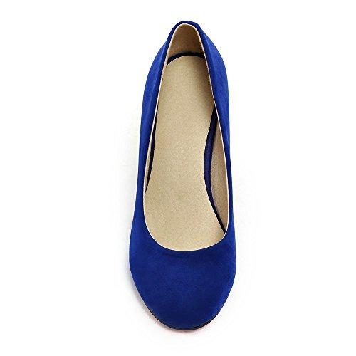 Vestito Sui Blu Donne Colore Modo Talloni Punta Delle Aiweiyi Pattini Rotondo Chiuso Tallone Di Di Metà Slittano Solido UpqAxa