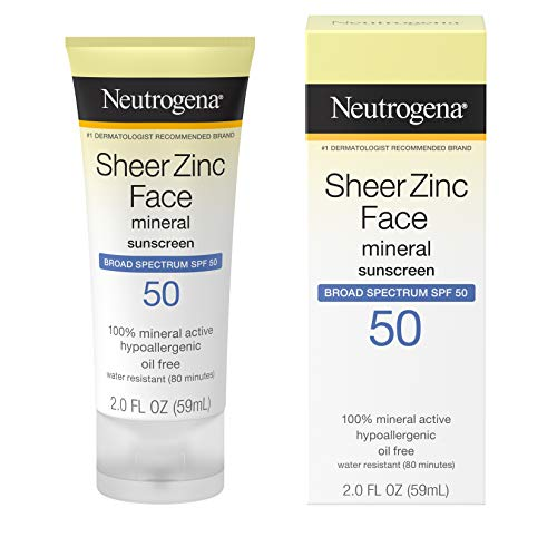 Best Neutrogena Sheer Zinc Oxide Dry-Touch Face Sunscreen with Broad Spectrum SPF 50, Oil-Free, Non-Comedogenic  Non-Greasy Mineral Sunscreen, 2 fl. oz