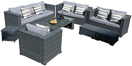 YAKOE 50181 Mónaco 8 plazas – Juego de Patio jardín de Invierno sofá de Mimbre Muebles de jardín de Mimbre con Mesa de café sillas y taburetes, Color Gris: Amazon.es: Jardín
