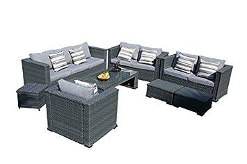 Amazonde Yakoe 50181 Monaco 8 Sitzer Luxus Rattan Gartenmöbel