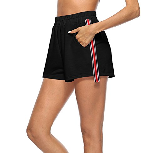 Donna Sportivi Pantaloncini Running Sport Casual Vita Pantaloncini Allentato Elastico Vita Alta Completi Corti In Moda Pantaloni Fashionable Fitness Nero Shorts Estivi Giovane pwfwTqd