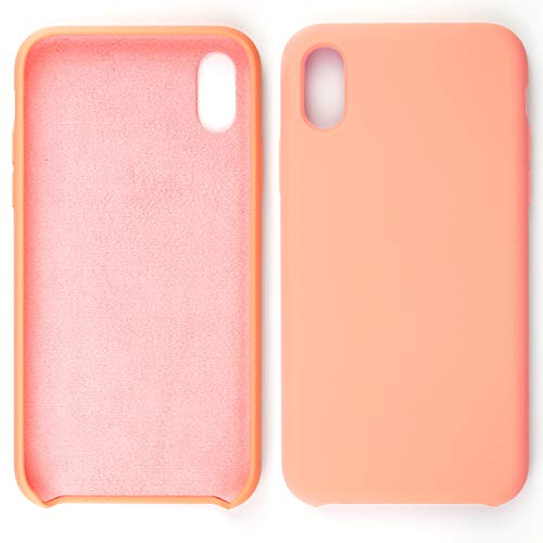 (Rightitem Colored Soft Phone case for iPhone Xs MAX! Sleek Liquid Silicone Gel Rubber Shockproof Scratch Resistant Case and Ultra Soft Microfiber Cloth Lining Cushion for iPhone Xs MAX (Pink))