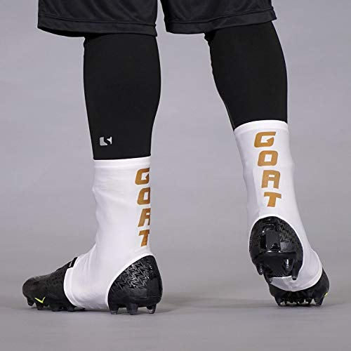 - Goat Spell Out White Gold Spats/Cleat Covers