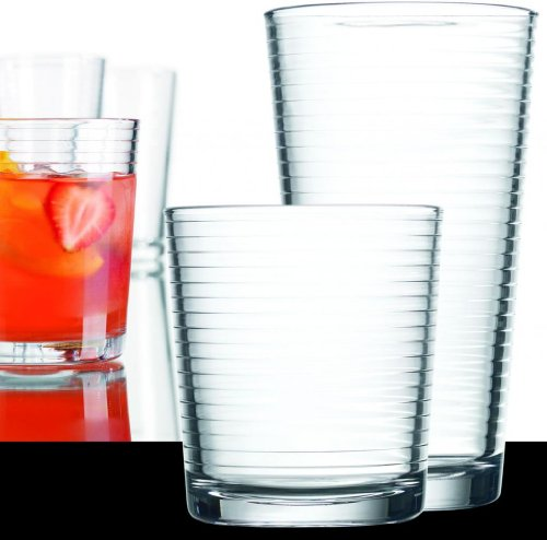 Highball Glassware Set (Set of 16 Durable Solar Drinking Glasses Includes 8 Cooler Glasses(17oz) and 8 Rocks Glasses(13oz), 16-piece Elegant Glassware Set)