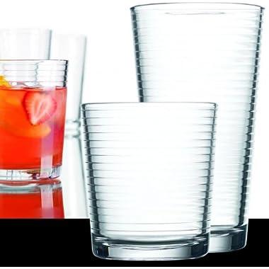 Set of 16 Durable Solar Drinking Glasses Includes 8 Cooler Glasses(17oz) and 8 Rocks Glasses(13oz), 16-piece Elegant Glassware Set
