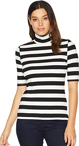 (VINCE CAMUTO Womens 3/4 Sleeve Wide Ribbed Stripe Turtleneck Top Rich Black XS)