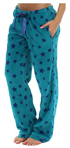 PajamaMania Women's Plush Fleece Relaxed Fit Pajama PJ Pants Blue Stars (PMPFR1003-2044-MED) (Pajama S)