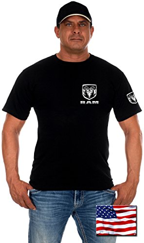 Mens Dodge RAM T-Shirt with Exclusive American Flag Sticker (2X, DST5-Black)