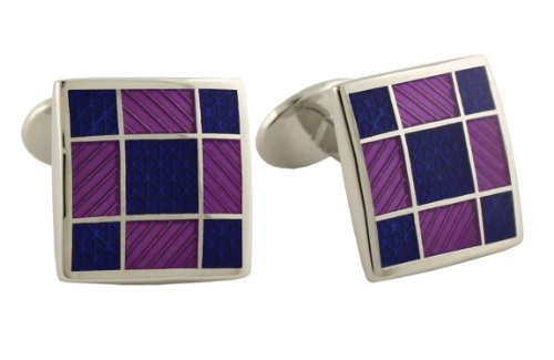 - David Donahue Sterling Silver Squares Cufflinks - Blue/Light Purple (H95542002)