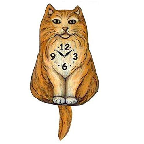 (Fluffy Orange Cat Wagging Tail Pendulum Clock)