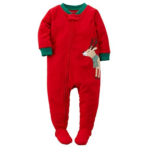 Carter's Baby Boys' Holiday Microfleece One Piece Footed Pajamas (12 Months, Boys Reindeer)