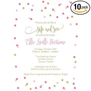 Amazon Com Baby Shower Invitations Sip And See Sprinkle