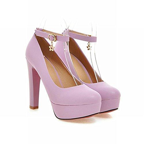 Charm Foot Womens Elegant Ankle Strap High Heel Buckle Pump Shoes Purple XXHNeBp