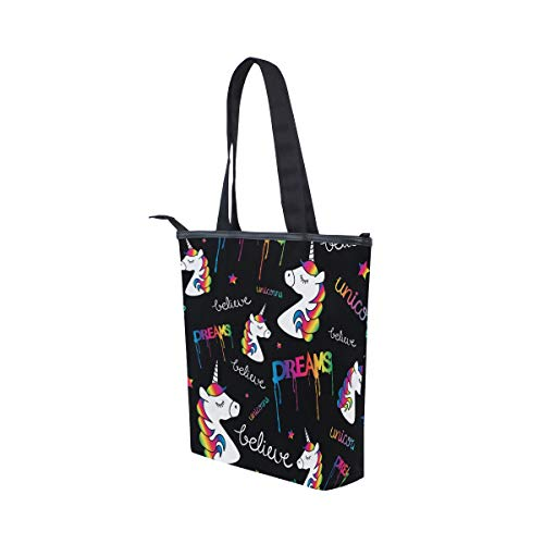 Borsa spalla superiore borsa arcobaleno maniglia da cerniera con donna unicorni tela Jeansame shopper nero cute Fwx8ng