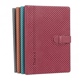 Small Check Design PU Leather Case With Card Holder For iPad Mini --- Color:Red
