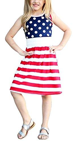 BANGELY Kids Girls Summer America Flag Style