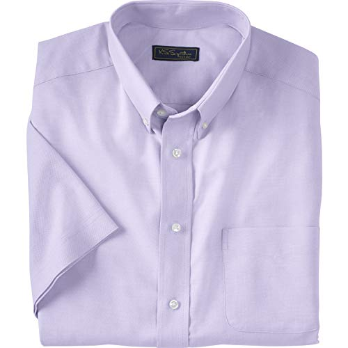 - Ks Signature Men's Big & Tall Wrinkle-Resistant Short-Sleeve Oxford Shirt, Soft Purple Tall-181/2
