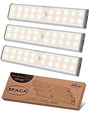 Onder Kabinet Verlichting 20 LEDs Kast Licht, Bewegingssensor Draadloze Magnetische Oplaadbare Onder Tegenverlichting, Batterij Operated LED Nachtlampje voor Kast Garderobe, Warm Wit, 3Packs