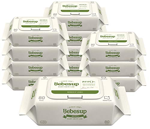Bebesup Zero Premium Baby Wipes for Sensitive Skins. 55 GSM, Flip Top - Unscented, Free of Alcohol, Paraben, Phenoxyethanol, Perfume, CMIT, Intertek Tested. Made in Korea (12 Pack)