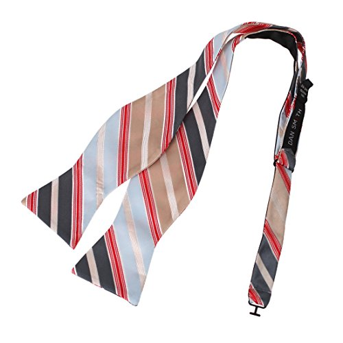 DBA7A27G Blue Red Tan Grey Stripes Bow Tie Microfiber Elegant Design Self-tied Bow Tie By Dan Smith (Bow Stripe)