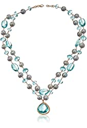 Dana Kellin Classic Double Strand of Pearls and Aqua Quartz with a Timeless Pendant Necklace