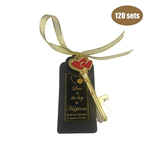(120 Packs Key Bottle Openers- with Escort Tag Card, Love is the Key to Happiness Sticker, Wedding Party Favors, Thanksgiving, Baby Shower and Special Events Decoration (Gold Double Heart Style))