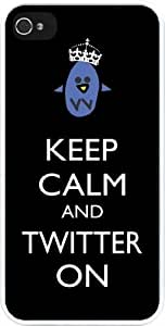 Rikki KnightTM Keep Calm and Twitter On Black Color Design iPhone 4 & 4s Case Cover (White Rubber with bumper protection) for Apple iPhone 4 & 4s