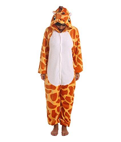 Giraffenkostüm, Tierkostüm Giraffe, Erwachsenenstrampler, Tieranzug, Fleeceanzug, Ganzkörperschlafanzug