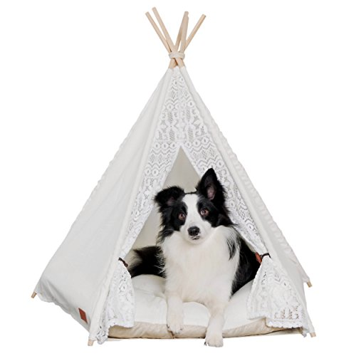 - little dove Pet Teepee Dog(Puppy) & Cat Bed - Portable Pet Tents & Houses for Dog(Puppy) & Cat Lace Style 28 Inch no Cushion