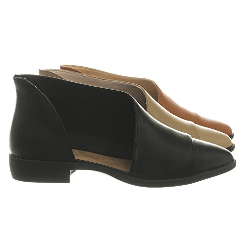 Aquapillar Flat Asymmetrical Cut-Out D'Orsay Ballet Shoes Block Heel Shoes