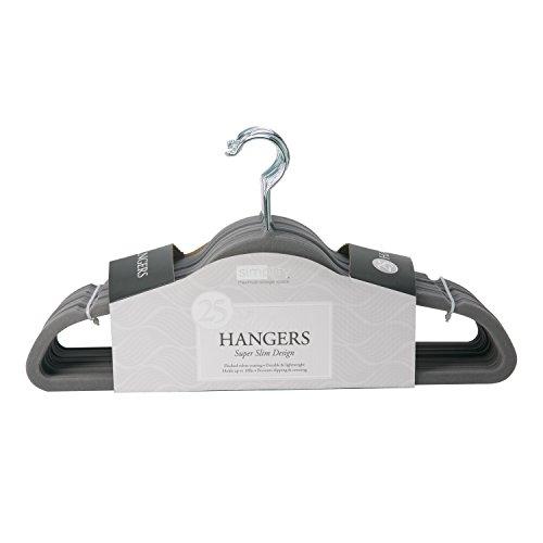 Simplify 25 Pack Velvet Hangers, Grey