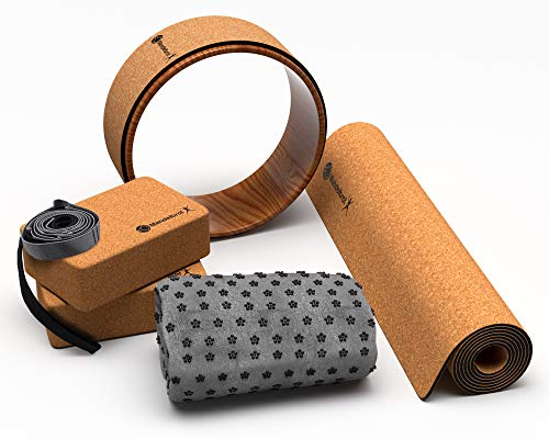 Ultimate Natural Cork & Rubber 8 Piece Yoga Set | Beginner to Pro, Everything You Need, Eco-Friendly Natural Cork & Rubber Design Mat, 2 Cork Blocks, Cork Yoga Wheel, Towel, Strap, More.