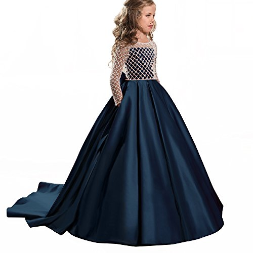 s Fancy Flower Girl Dress Floor Length Button Draped Pink Long Sleeves Tulle Ball Gowns for Kids (10, Navy) (Draped Satin Dress)