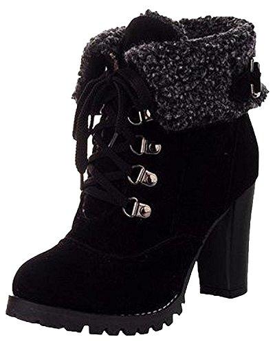 Zapatos Minetom Mujer Negro Boots Botines Invierno De Cortas Martin Botas Tacón Alto Calentar Cordones S8rSap