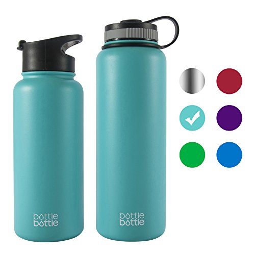 bottlebottle 40 oz Insulated Stainless Steel Water Bottle with Bonus Lid, Double Wall Vacuum Sealed Flask, Wide Mouth, BPA Free, Cold 24 Hrs/Hot 12 Hrs - Freshing Blue