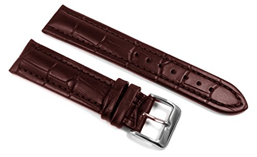 DURA STRAPS 20mm Genuine Brown Leather Alligator Grain Replacement Watch Bands For Men And Women With Elegant Stitching