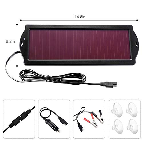 POWOXI Solar Car Battery Trickle Charger, 12V 1.8W Solar Battery Charger Car, Waterproof Portable Amorphous Solar Panel for Rv Motorcycle Watercraft by POWOXI (Image #6)