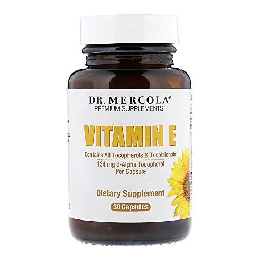 Dr. Mercola Vitamin E Supplement - 30 Capsules - 134mg - Balanced Blend Of Tocopherols And Tocotrienols - Made With Sunflower Oil - Contains No Soy - D-Alpha Tocopherol