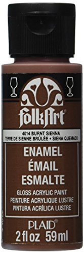 FolkArt Enamel Glass & Ceramic Paint in Assorted Colors (2 oz), 4014, Burnt Sienna -