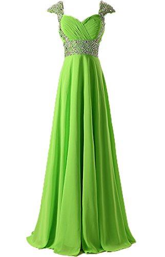 Robes De Bal En Mousseline De Soie Perles Mancherons Femmes De Mariée De Longues Anna Robes De Soirée Citron Vert