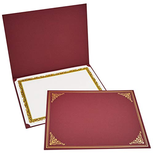 12-Pack Certificate Holder - Diploma Cover, Document Cover for Letter-Sized Award Certificates, Red, Gold Foil, 11.2 x 8.8 Inches ()