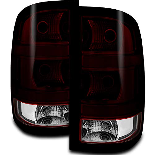 Xtune 2007-2013 Sierra Fleetside Direct Fit Smoked Red (Smoke Tinted) Tail Lights Pair L+R 2008 2009 2010 2011 2012