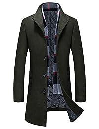 APTRO Men's Wool Coat Winter Fleece Lining Business Jacket Warm Trench Coat with Scarf