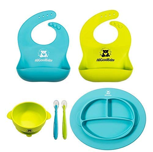 Baby & Toddler Feeding Set - 2 Pocket Food Catching Bibs, 2 Spoons, Placemat Suction Plate & Bowl | BPA Free Silicone | Safe for Children | Waterproof Spill Resistant Easy Cleaning