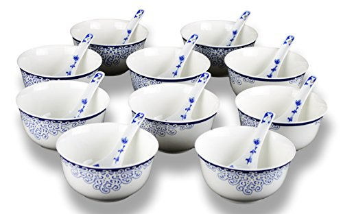 10 Pcs Fine Bone China Blue and White Bowl, Cereal bowls, with Free 10 Porcelain Spoons, Dinnerware, Rice Bowl Soup Bowl Fruit Bowl - Dinnerware Bowl Fruit