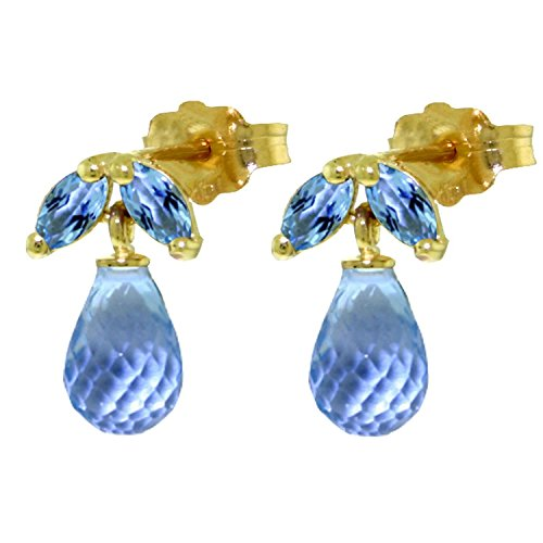 ALARRI 3.4 Carat 14K Solid Gold Distrustful Angel Blue Topaz Earrings by ALARRI