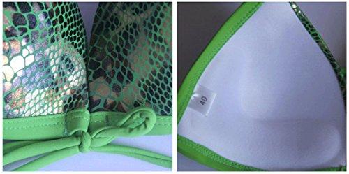 Traje de baño de las señoras Traje de baño de moda de traje de baño de cuero de bikini Split Bikini Verde