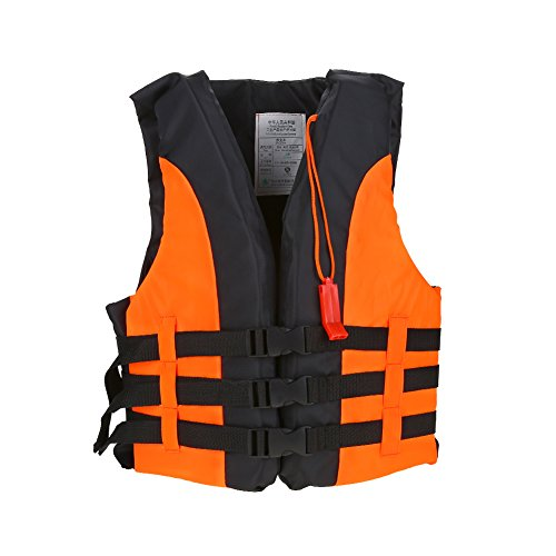 Child Life Vest with Whistle, Classic Series Children Safety Swimwear Jacket Type Personal Flotation Device for Swimming Sailing Boating Kayak(13-16 Years Old-Orange)