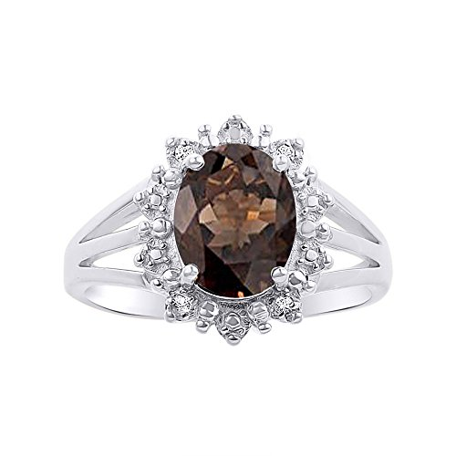Princess Diana Inspired Halo Diamond & Smoky Quartz Ring Set In 14K White Gold by Rylos (Image #1)'